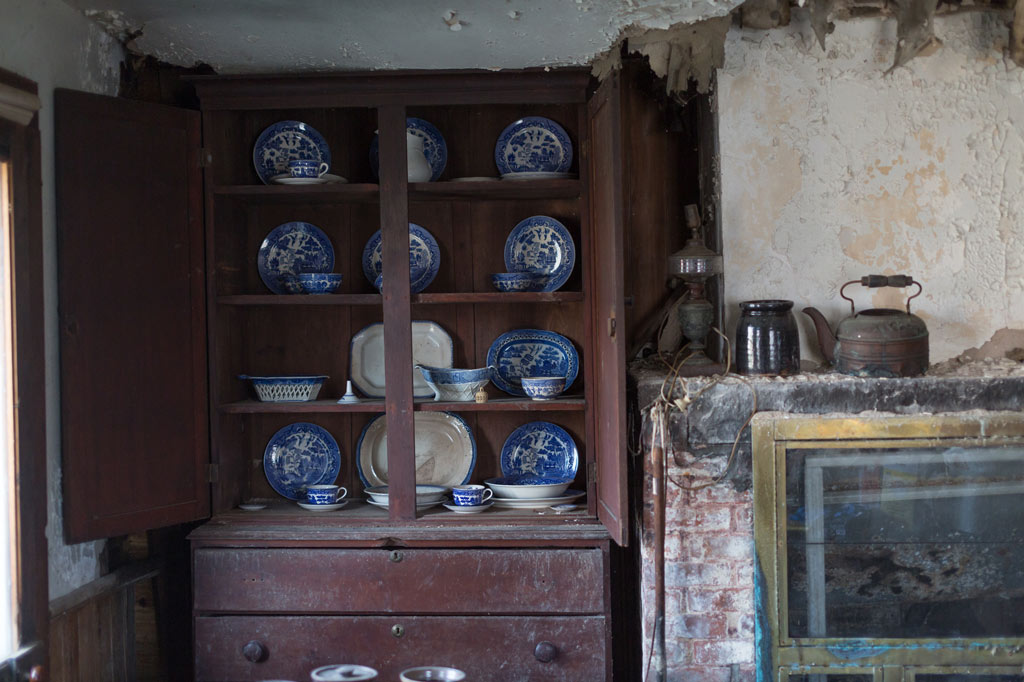 kitchen hutch filled with china