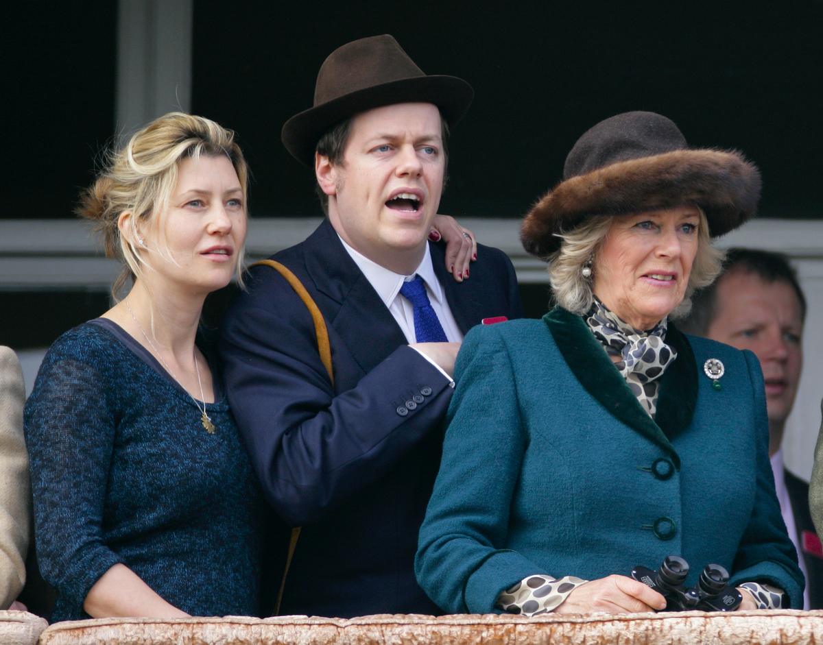 Sara Buys, her husband Tom Parker Bowles and Tom's mother Camilla, Duchess of Cornwall watch the racing on day 2 'Ladies Day' of the Cheltenham Horse Racing Festival on March 14, 2012 in Cheltenham, England.