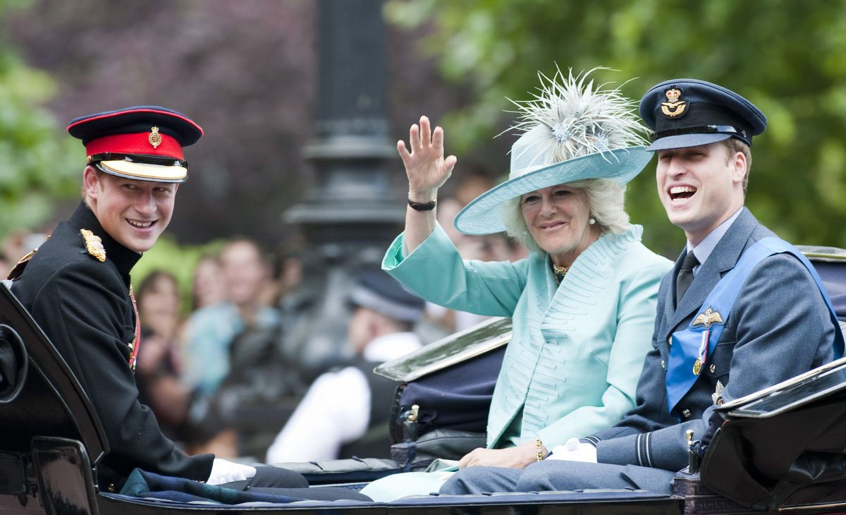 Prince Harry,Prince William And The Duchess Of Cornwall Wave To The Crowds During The Trooping The Colour 2009.