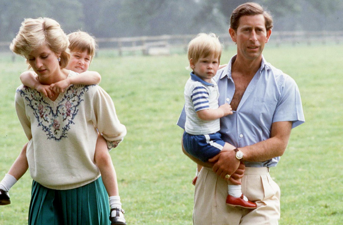 Prince Charles And Princess Diana With Prince William And Prince Harry At Home In The Gardens Of Highgrove House.