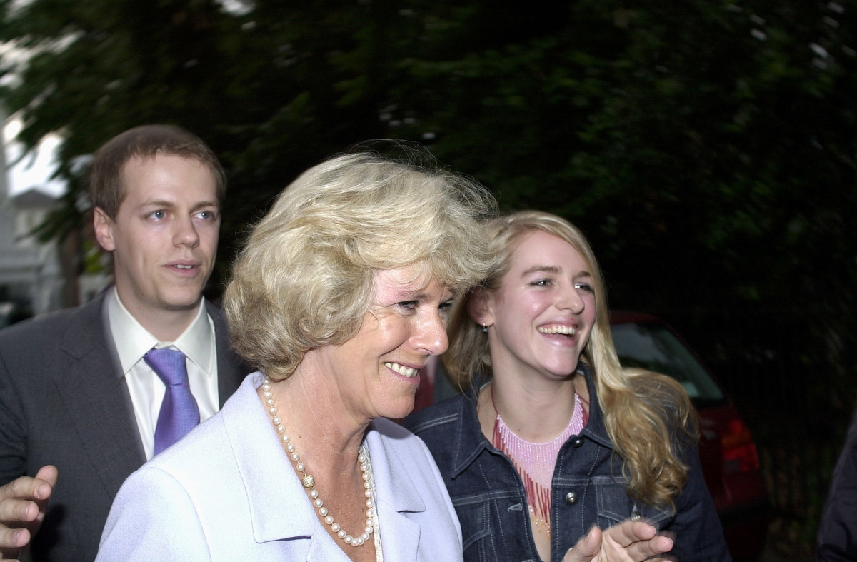 Camilla Parker-bowles With Her Son Tom And Daughter Laura Leaving David Frost's Party In Chelsea, London.