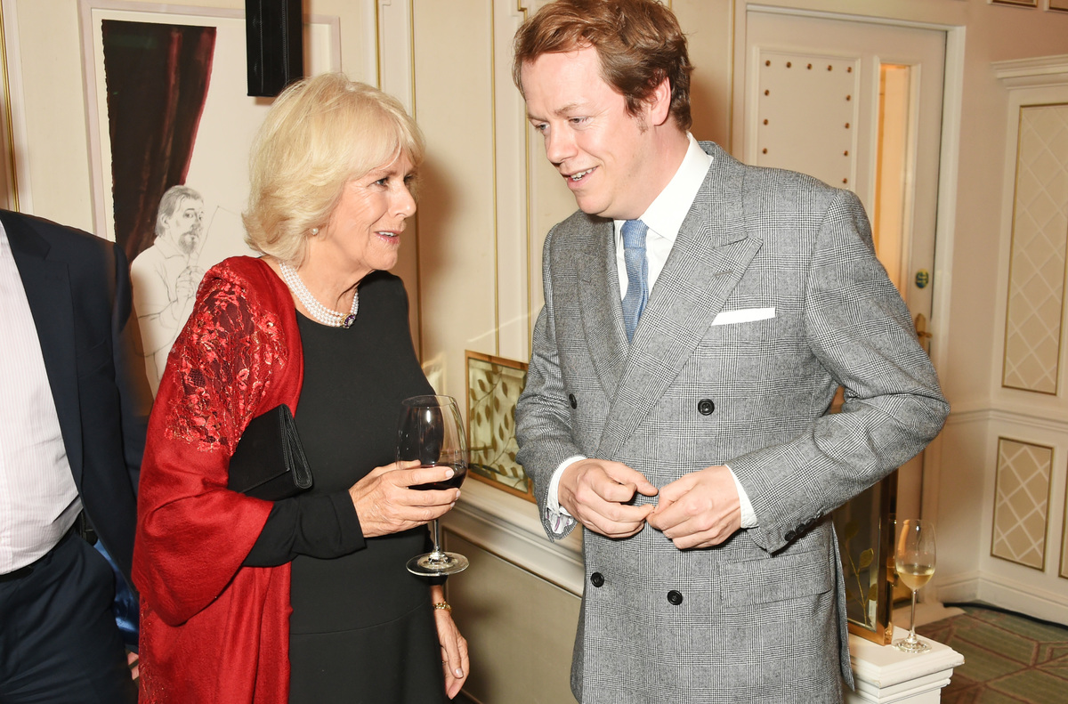 Camilla, Duchess of Cornwall, and son Tom Parker Bowles attend the launch of