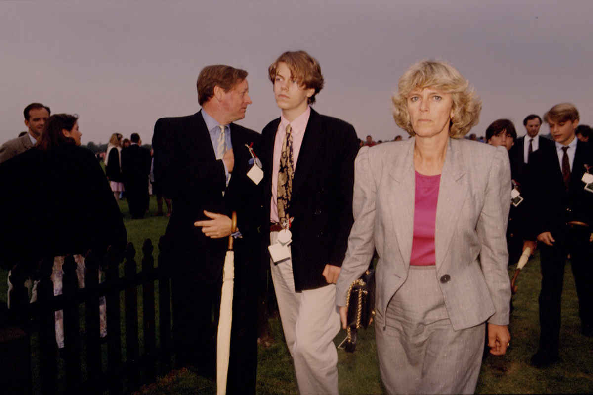 Andrew and Camilla Parker Bowles with their son Tom Parker Bowles attend the Queen's Cup polo match at Windsor, 7th June 1992.