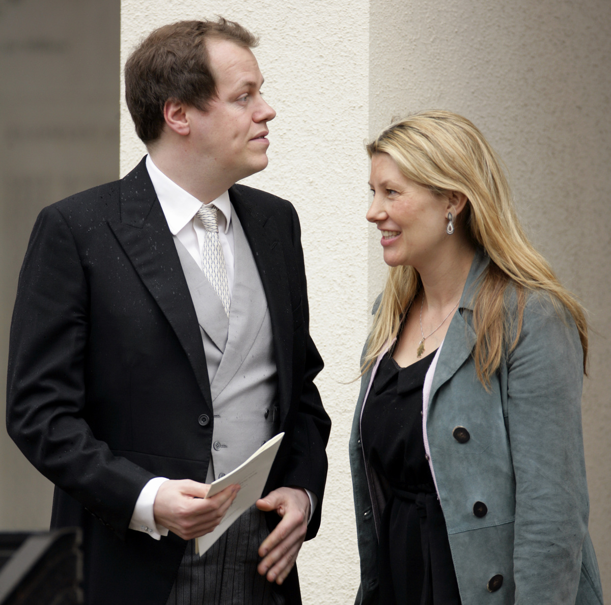 Tom Parker Bowles and wife Sara Parker Bowles (formerly Buys) attend a memorial service for Rosemary Parker Bowles at the Guards Chapel, Wellington Barracks on March 25, 2010 in London, England.