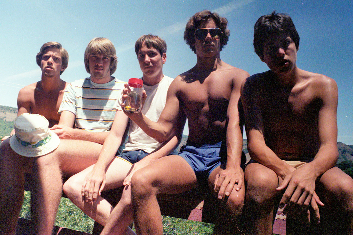 the five friends' first photograph in 1982