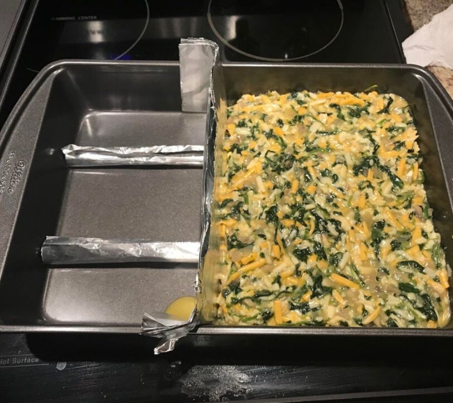 tinfoil used to make a pan smaller