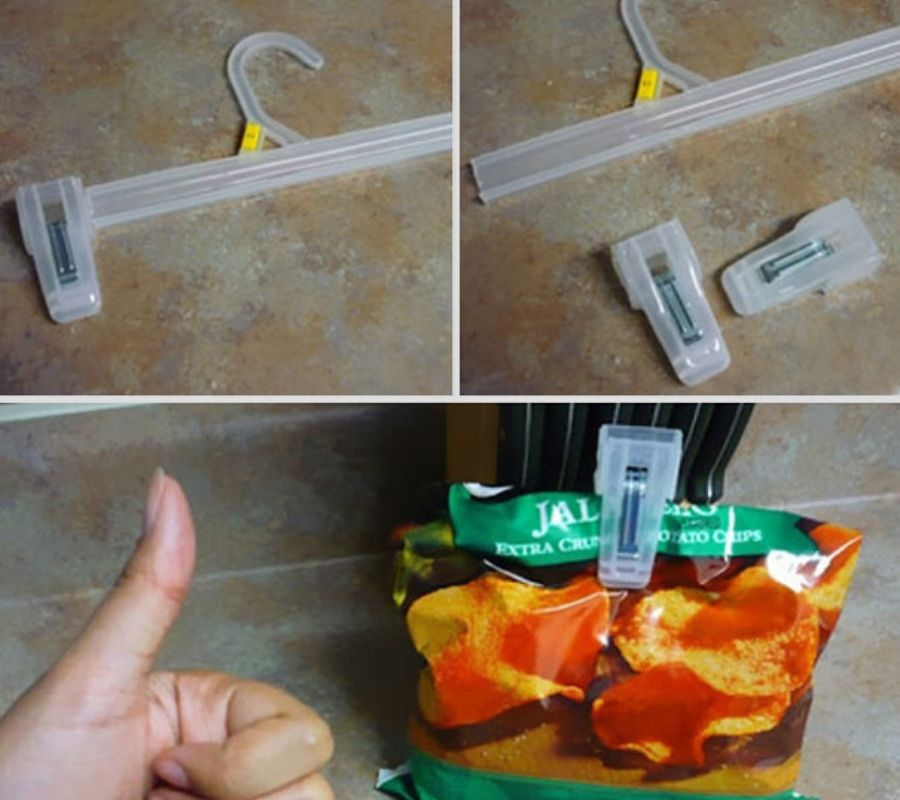 clip hanger ends used to keep chip bags closed