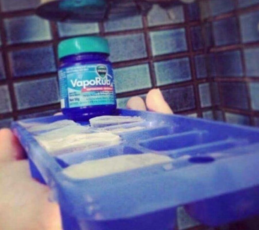 an ice cube try with frozen vaporub in it