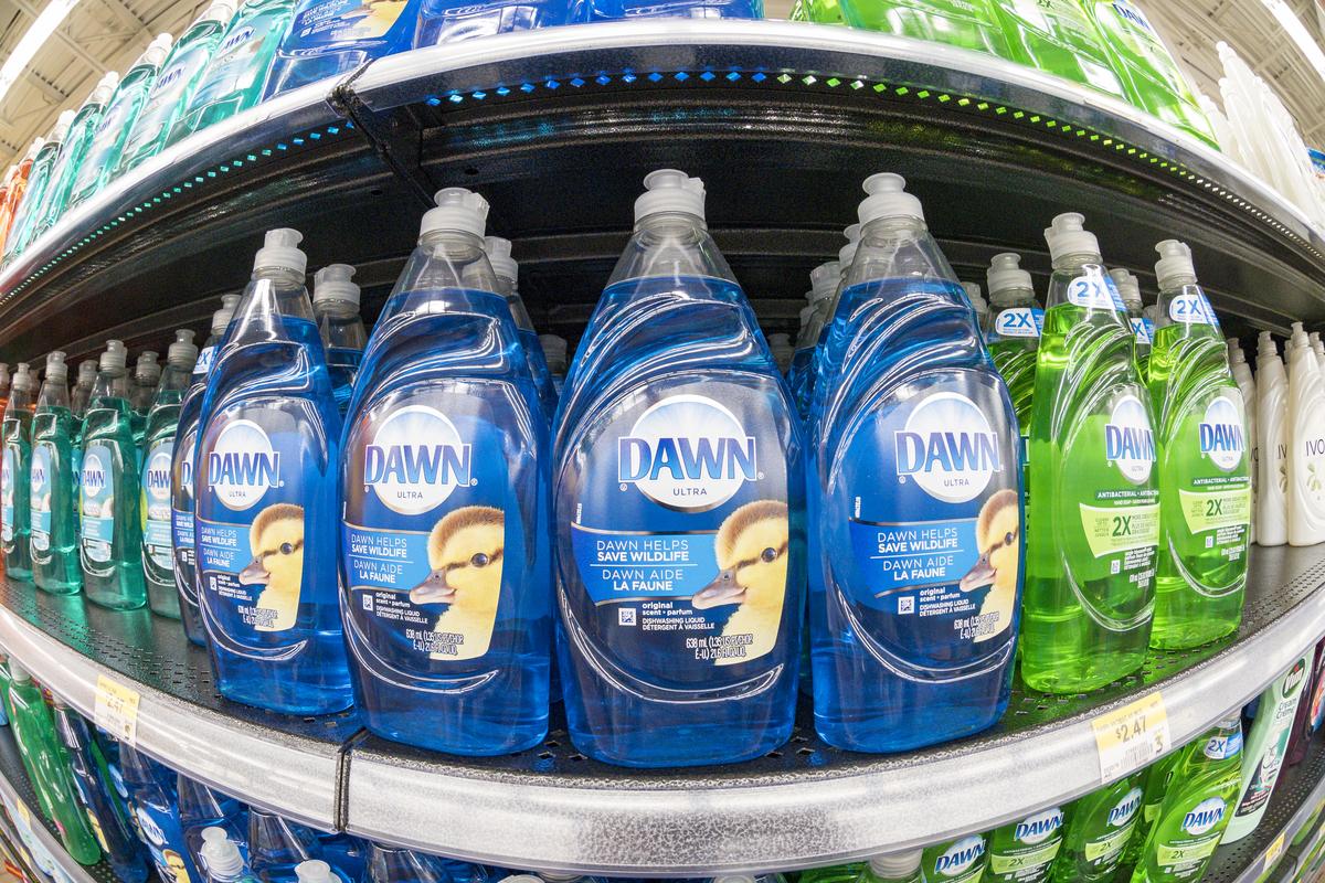 dawn liquid soap display