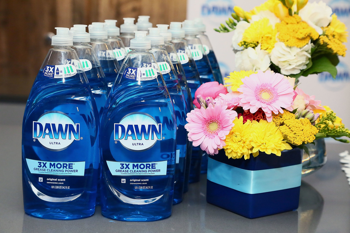 bottles of dawn dish soap with flowers