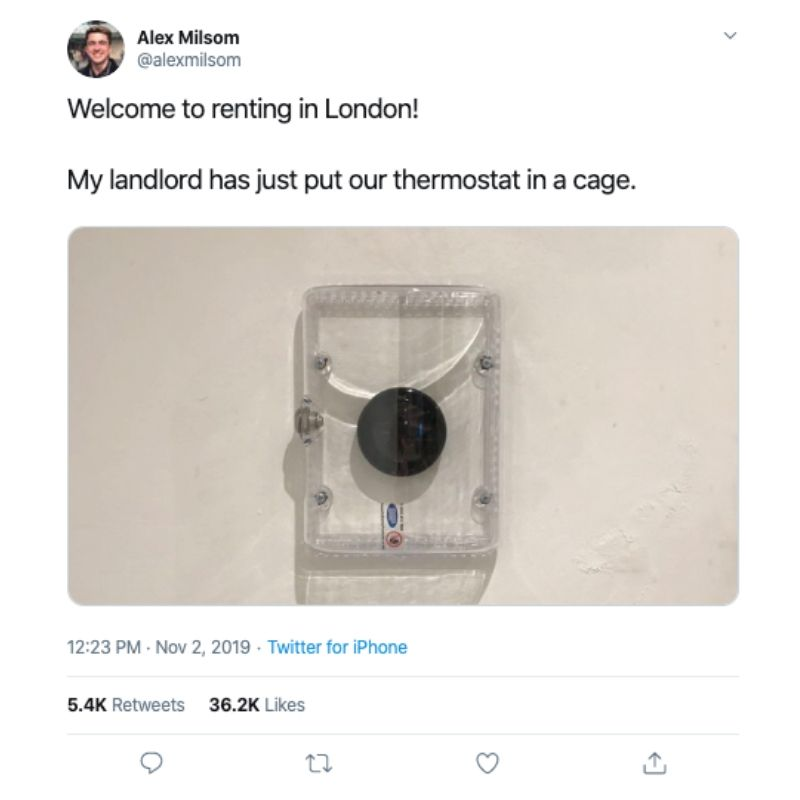 renting in london with a cage over thermostat