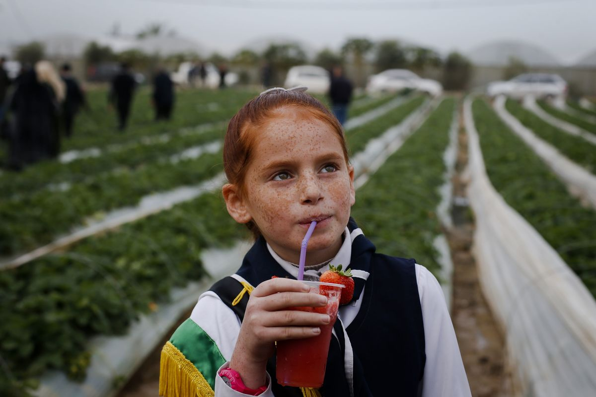 A girl drinks a glass of juice made from strawberries.