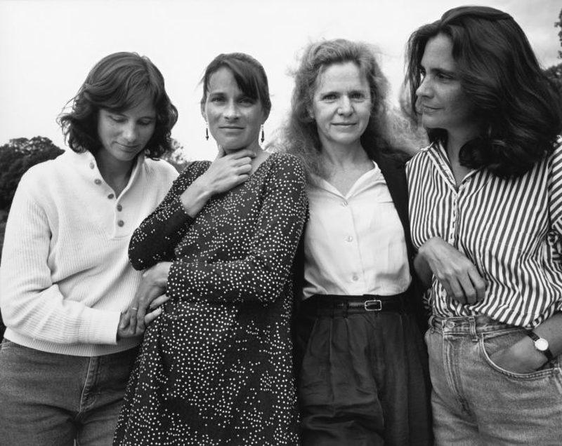 four women wearing stripesand dots