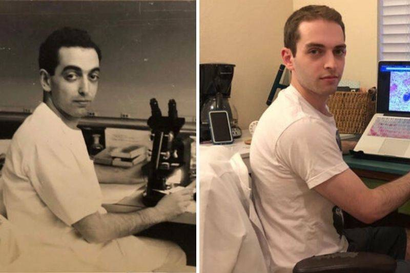 person looks like their grandpa, both are scientists
