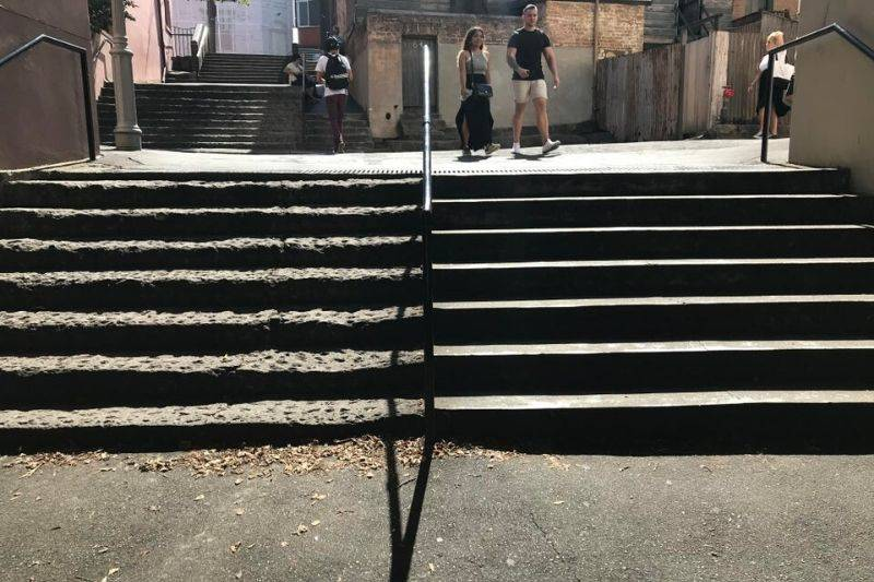 stairs built many years apart