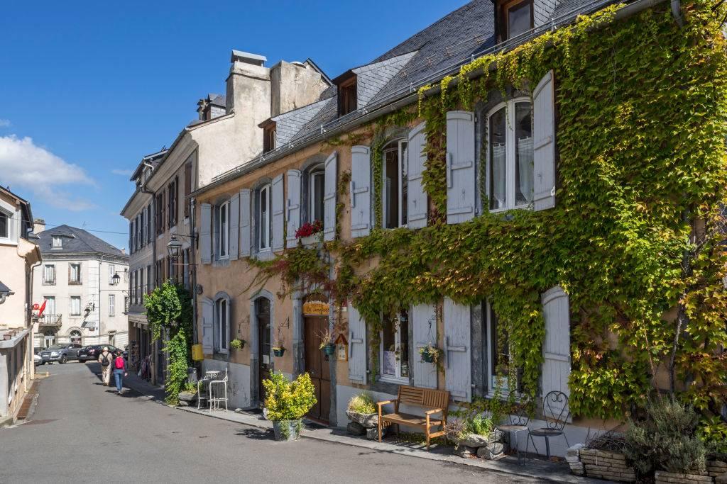 Hotel restaurant at the village Luz-Saint-Sauveur, Hautes-Pyrenees, France.