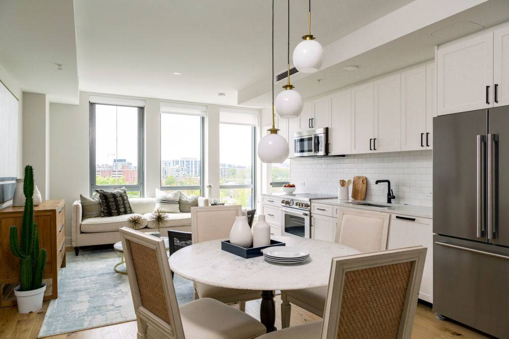 Living area seen from Dining Table in Unit 618 at Avidian on April 14, 2020 in Washington DC.