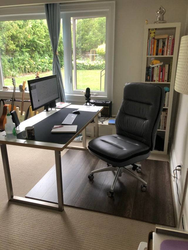 using flooring under your office chair instead of a plastic mat