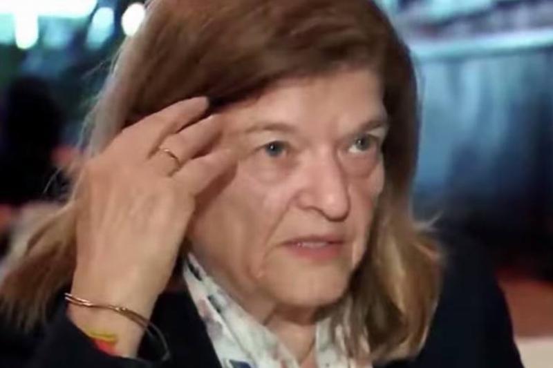 Karen Vinacour is seen in an interview.