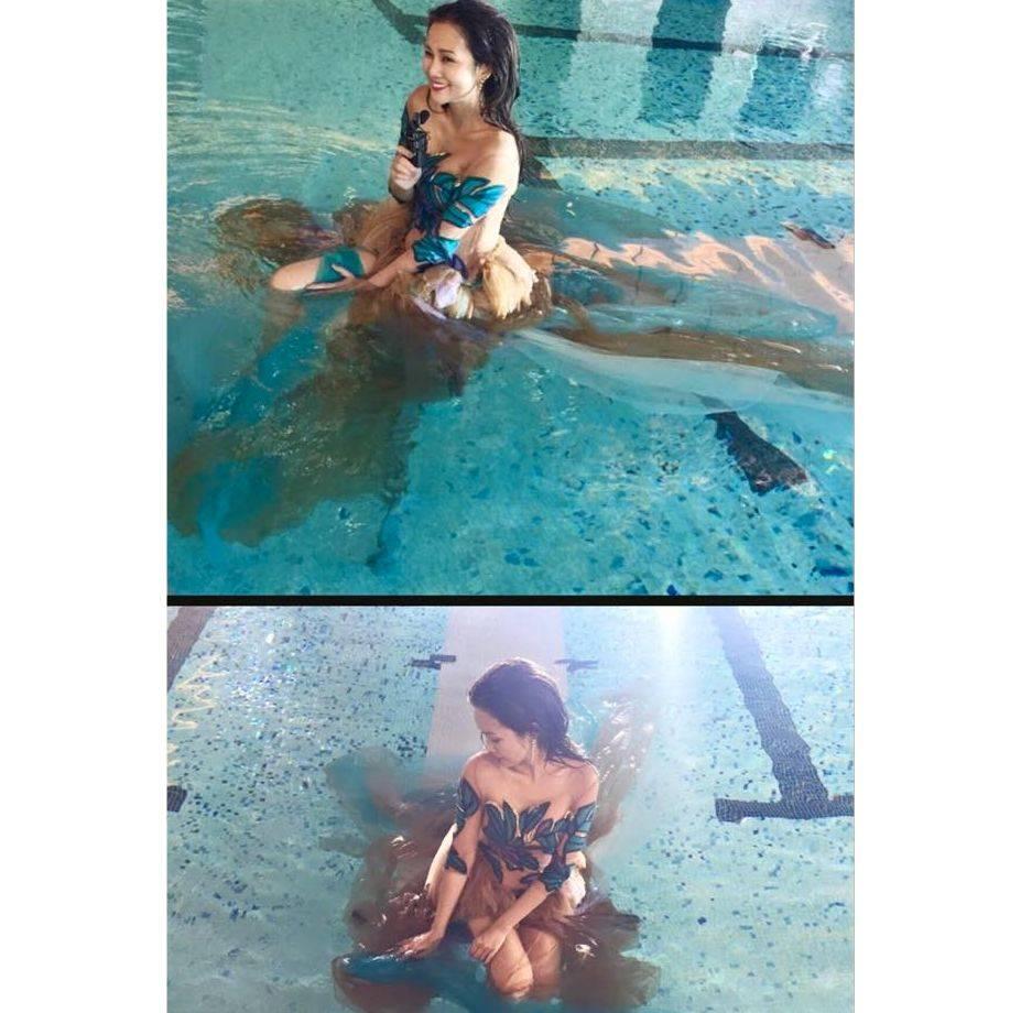 woman wearing brown dress in a pool