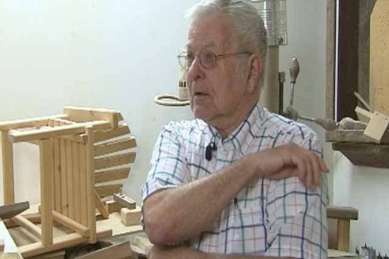 Gerald Kumpula is interviewed in his workshop.