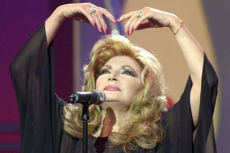 Spanish singer Rocio Jurado performing during a programme on Spanish television
