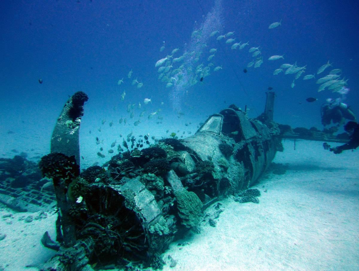 A Vought F4U Corsair is on the sea floor in Hawaii.