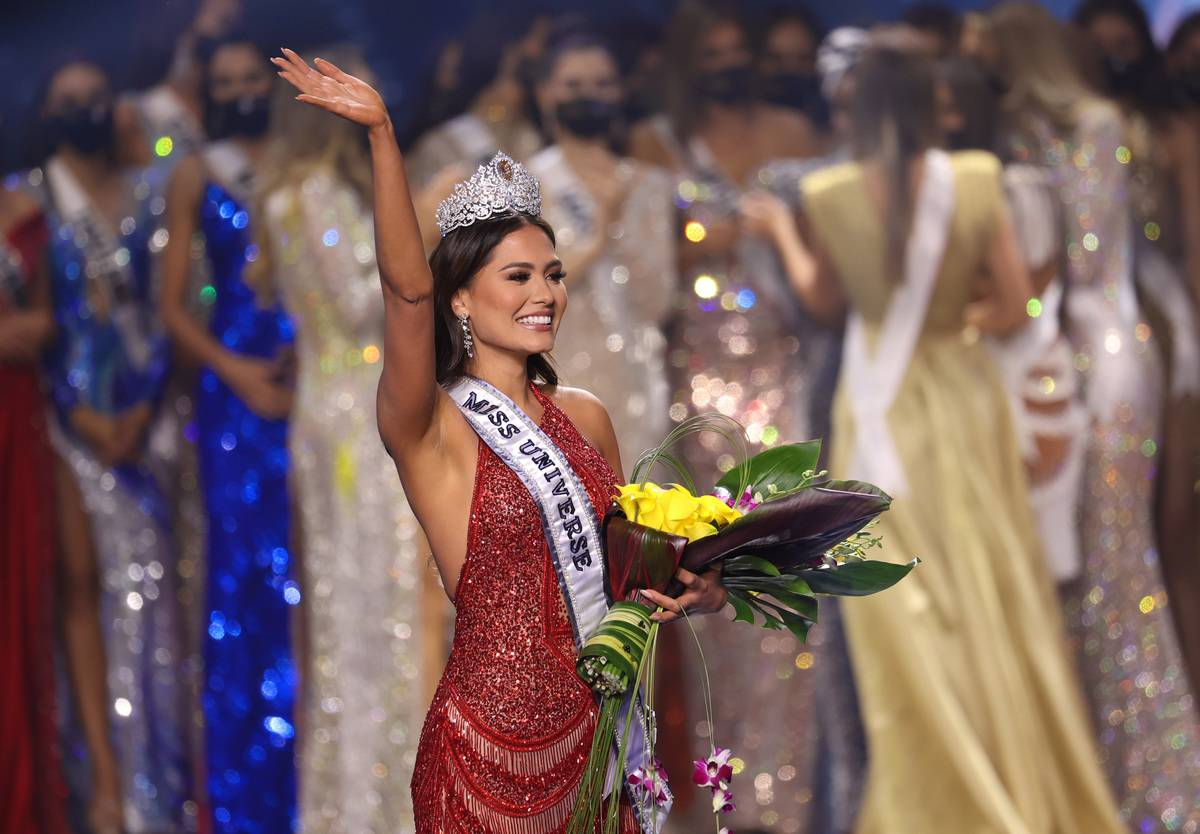 Miss Mexico Andrea Meza is crowned Miss Universe 2020 onstage at the 69th Miss Universe competition at Seminole Hard Rock Hotel & Casino on May 16, 2021 in Hollywood, Florida