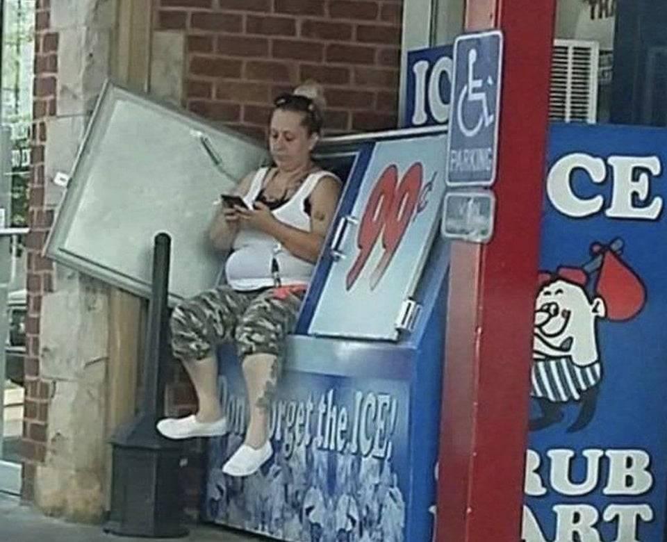 woman sitting in ice
