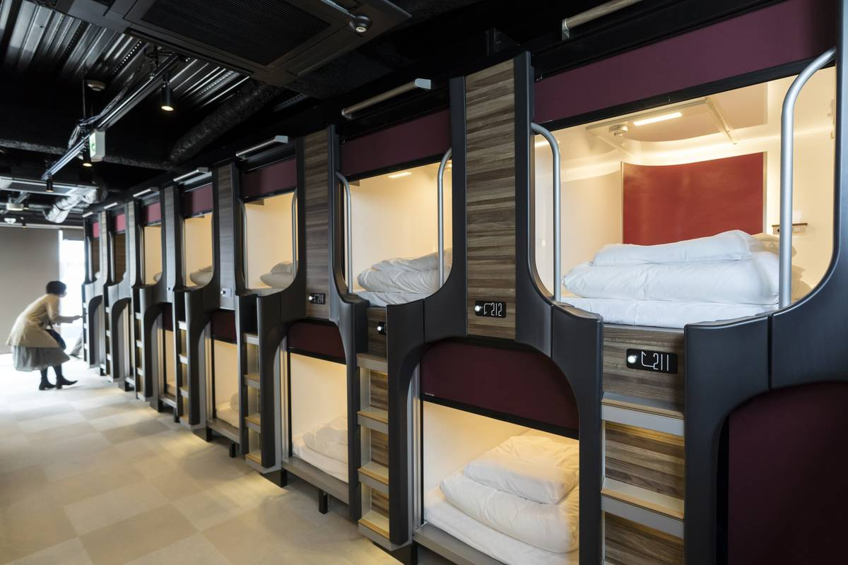 Capsule units are seen in the Mayudama Cabin capsule hotel operated by TB Group Inc. on March 28, 2019 in Yokohama, Japan