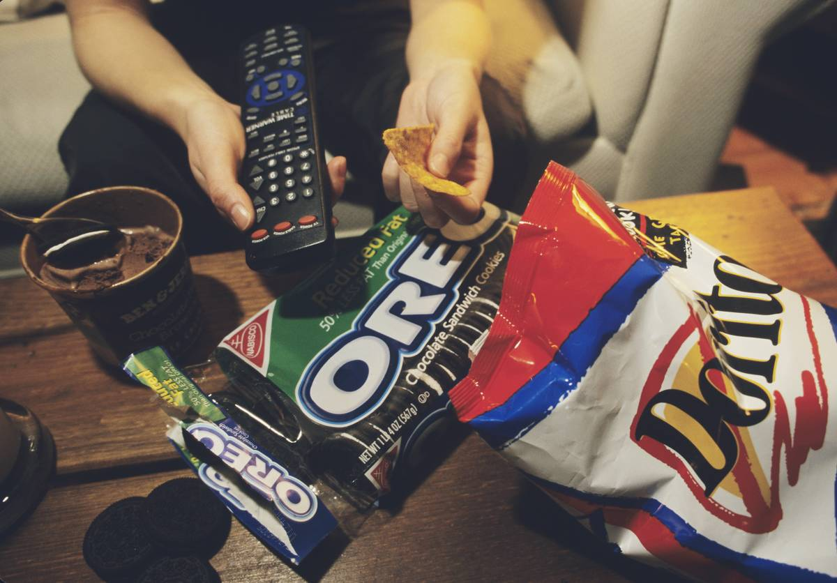 Junk Food Meal in Front of Television