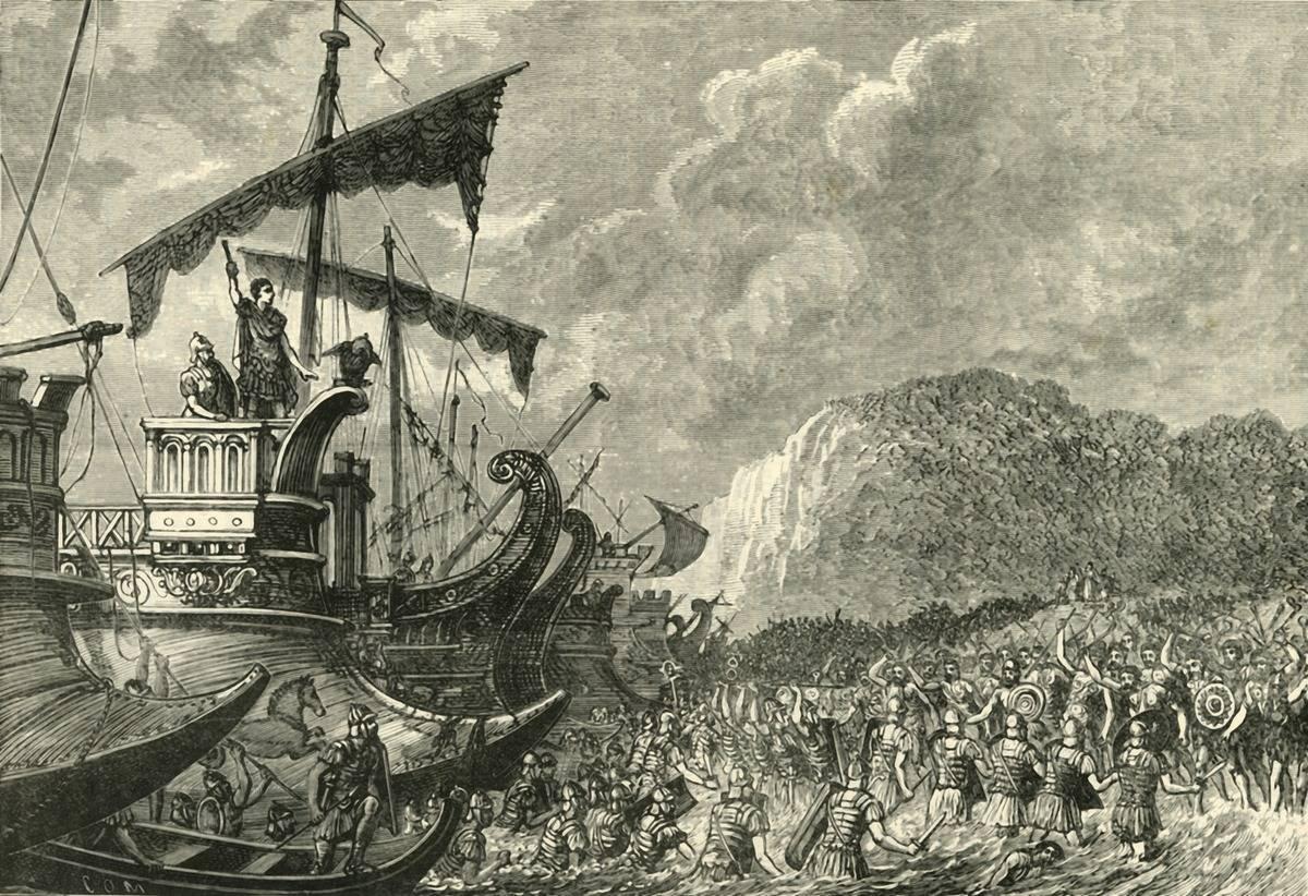'Landing of Julius Caesar in Britain', 1890. From