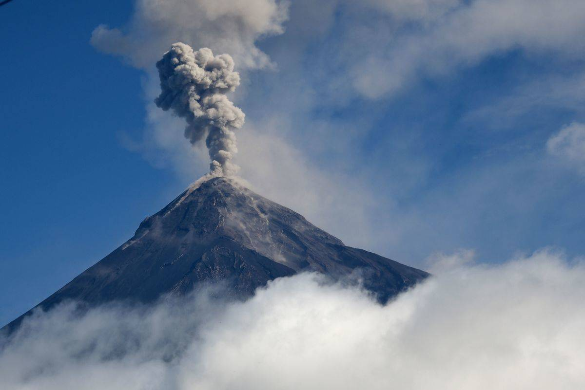 A view of the Fuego Volcano erupting, as seen from El Rodeo municipality, in Escuintla department, 45 km southwest of Guatemala City on on June 3, 2019